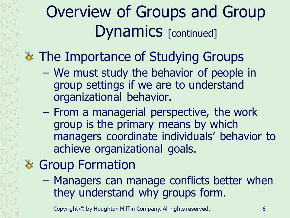 Overview of Groups and Group Dynamics [continued]